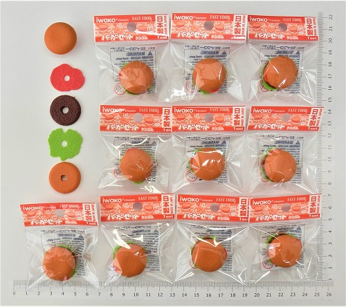 日本製 消しゴムです 絶品 魅力ある日本のおみやげコンテスト受賞 ハンバーガー消しゴム 10個入 まとめ買い 消しゴム プレゼント こども 最新 ばらまき 文具 ご褒美 おまけ 景品 おもちゃ