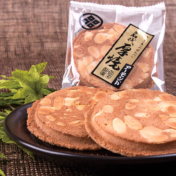 厚焼せんべいアーモンド 【6枚袋入】佐々木製菓