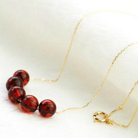 【久慈琥珀】琥珀ネックレス 琥珀玉5連ネックレス 上品な輝き 天然石アクセサリー