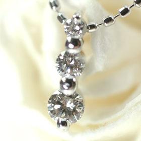 【送料無料】【4月の誕生石】K18WG・ダイヤモンド スリーストーンペンダント(ネックレス)【smtb-m】