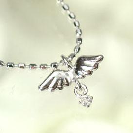 【送料無料】【ダイヤモンドペンダント】K14WG・ダイヤモンド0.01ct エンジェルウィングペンダント(ネックレス)【smtb-m】