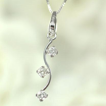 【送料無料】【ダイヤモンドペンダント】K14WG・ダイヤモンド0.1ct ブランチ3ストーンペンダント(ネックレス)【smtb-m】