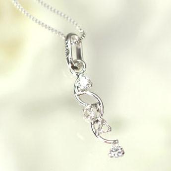 【送料無料】【ダイヤモンドペンダント】K14WG・ダイヤモンド0.03ct ブランチペンダント(ネックレス)【smtb-m】