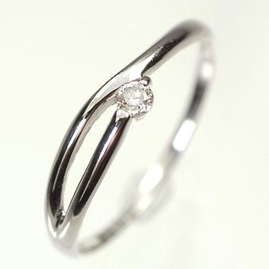 【送料無料】【ダイヤモンドリング】K18WG・ダイヤモンド0.05ct シンプルリング(指輪)【smtb-m】