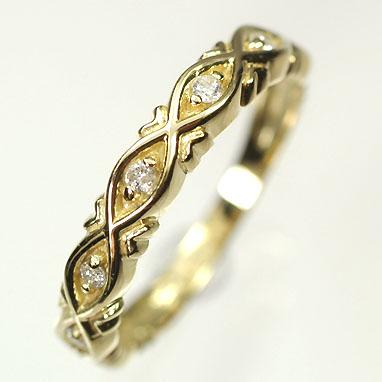 【送料無料】【ダイヤモンドリング】K18・ダイヤモンド0.1ct リーフラインリング(指輪)【smtb-m】