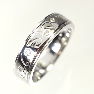 【送料無料】【ダイヤモンドリング】【ホワイトゴールドリング】K18WG・ダイヤモンド0.04ct ピンキーリング(指輪)【smtb-m】