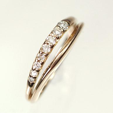 【送料無料】【ダイヤモンドリング】【ピンクゴールドリング】K18PG・ダイヤモンド0.13ct ピンキーリング(指輪)【smtb-m】