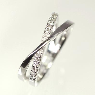 【送料無料】【ダイヤモンドリング】【ホワイトゴールドリング】K18WG・ダイヤモンド0.08ct ピンキーリング(指輪)【smtb-m】