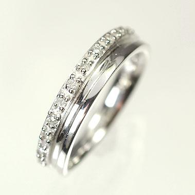 【送料無料】【ダイヤモンドリング】【ホワイトゴールドリング】K18WG・ダイヤモンド0.08ct ピンキーリング(指輪)