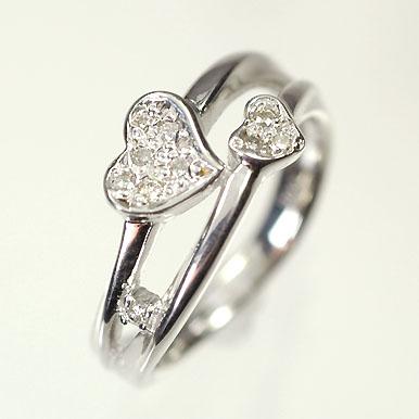 【送料無料】【ダイヤモンドリング】【ホワイトゴールドリング】K18WG・ダイヤモンド0.07ct ピンキーリング(指輪)【smtb-m】
