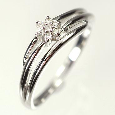 天然ダイヤモンド 送料無料 ダイヤモンドリング 安い 激安 プチプラ 高品質 毎日がバーゲンセール K18WG ミニフラワーリング ダイヤモンド0.06ct smtb-m 指輪