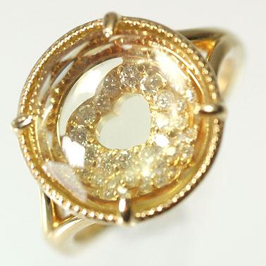 【送料無料】【ダイヤモンドリング】K18・ダイヤ0.06ct・レモンクォーツ レイヤードリング(指輪)【smtb-m】