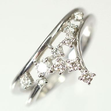 【送料無料】【ダイヤモンドリング】K18WG・ダイヤ0.28ct(SIクラス・鑑別書カード付) アニバーサリー10リング(指輪)【smtb-m】