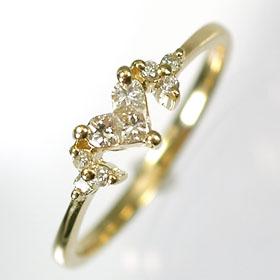 【送料無料】【ダイヤモンドリング】K18・ダイヤ0.19ct ハート&フラワーリング(指輪)【smtb-m】