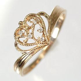 【送料無料】【ダイヤモンドリング】【ピンクゴールドリング】K18PG・ダイヤ0.02ct デザインハートリング(指輪)【smtb-m】
