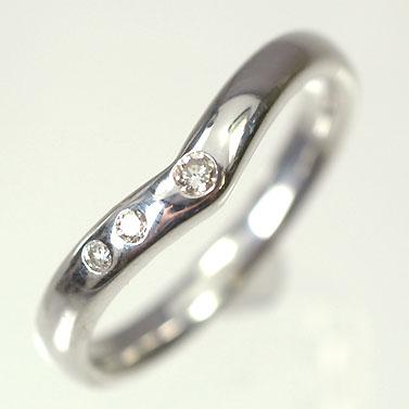 【送料無料】【ダイヤモンドリング】K10WG・ダイヤモンド0.06ct スリーストーンリング(指輪)【smtb-m】