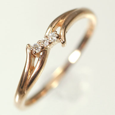 【送料無料】【ダイヤモンドリング】【ピンクゴールドリング】K10PG・ダイヤモンド0.03ct スリーストーンリング(指輪)【smtb-m】