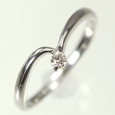 【送料無料】【ダイヤモンドリング】K10WG・ダイヤモンド0.05ct シンプルリング(指輪)【smtb-m】