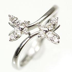 【送料無料】【ダイヤモンドリング】K18WG・ダイヤモンド0.25ct バタフライリング(指輪)【smtb-m】