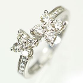 【送料無料】【ダイヤモンドリング】K18WG・ダイヤモンド0.60ct ダブルフラワーリング(指輪)【smtb-m】