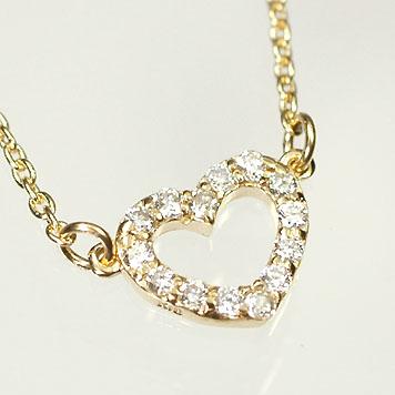 【送料無料】【ダイヤモンドペンダント】K18・ダイヤ0.1ct オープンハートネックレス【smtb-m】
