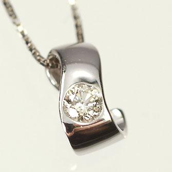 【送料無料】【ダイヤモンドペンダント】K18WG・ダイヤ0.08ct ツイストペンダント(ネックレス)【smtb-m】