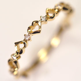 【ダイヤモンド リング】K18・ダイヤモンド0.04ct ハートリング  ☆ 送料無料 ☆【smtb-m】