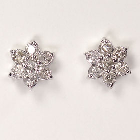 【現品処分】天然ダイヤモンド0.2ct×ホワイトゴールド 7石フラワーピアス【送料無料】