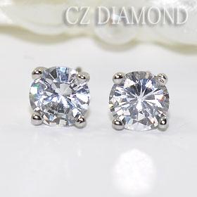 One CZ diamond stud bolt pierced earrings 6mm (the titanium post)