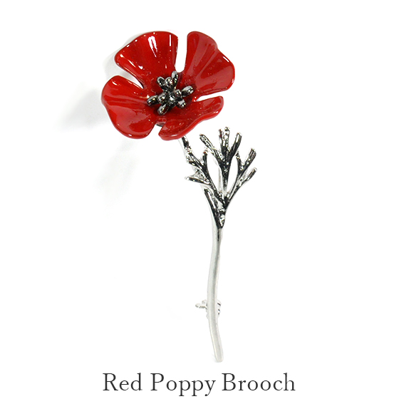 Broach flower design man and woman combined use broach of the red poppy
