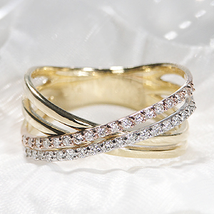 Pt900/K18YG/K18PG 0.20~0.25ct 3カラー 4連風 ダイヤモンド クロス リング【送料無料】記念日 可愛い 人気 クロス エタニティ おすすめ ジュエリー 指輪 ダイヤモンドリング おしゃれ 品質保証書 ダイア 4連 代引手数料無料 ラッピング無料