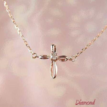 送料無料 限定モデル ダイヤモンドペンダント クロス k10pg オンラインショッピング ギフト ダイヤモンド 一粒 十字架 10金ピンクゴールド レディース ネックレス