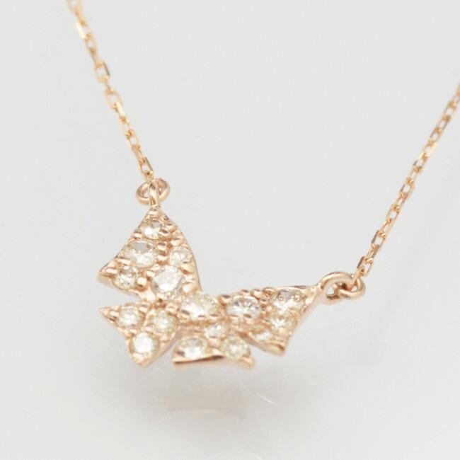K18金 リボン モチーフ ダイヤモンド ネックレス K18イエローゴールド K18ピンクゴールド K18ホワイトゴールド レディース