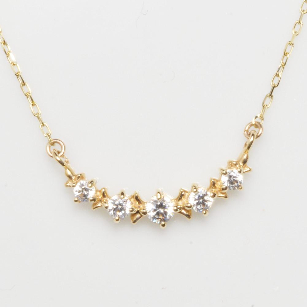 K18金 ダイヤモンド ライン ネックレスイエローゴールド ピンクゴールド ホワイトゴールド YG PG WG レディース スキンジュエリー