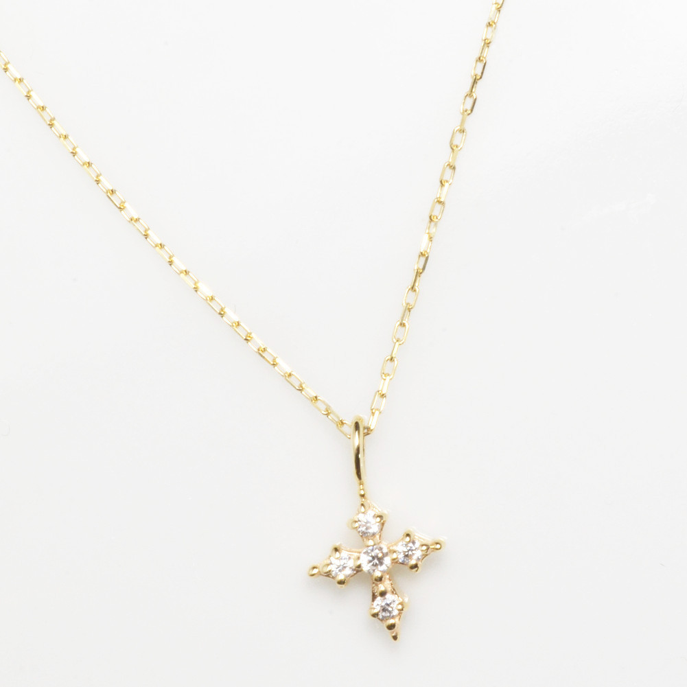 K10金 クロス モチーフ ダイヤモンド ネックレス 十字架 ペンダント イエローゴールド ピンクゴールド ホワイトゴールド K10金 レディース YG PG WG