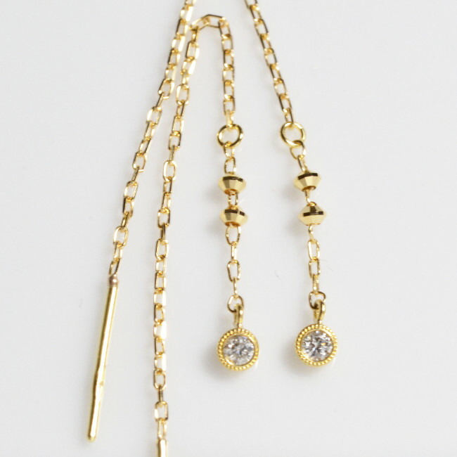 K18金 ダイヤモンド アメリカン ピアス イエローゴールド ピンクゴールド ホワイトゴールド YG PG WG レディース