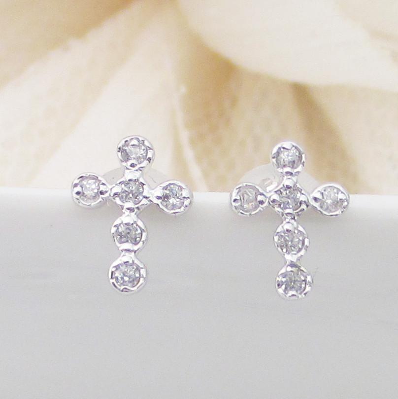 プラチナ Pt900 クロス モチーフ ダイヤモンド ピアス レディース ギフト プレゼント お祝い