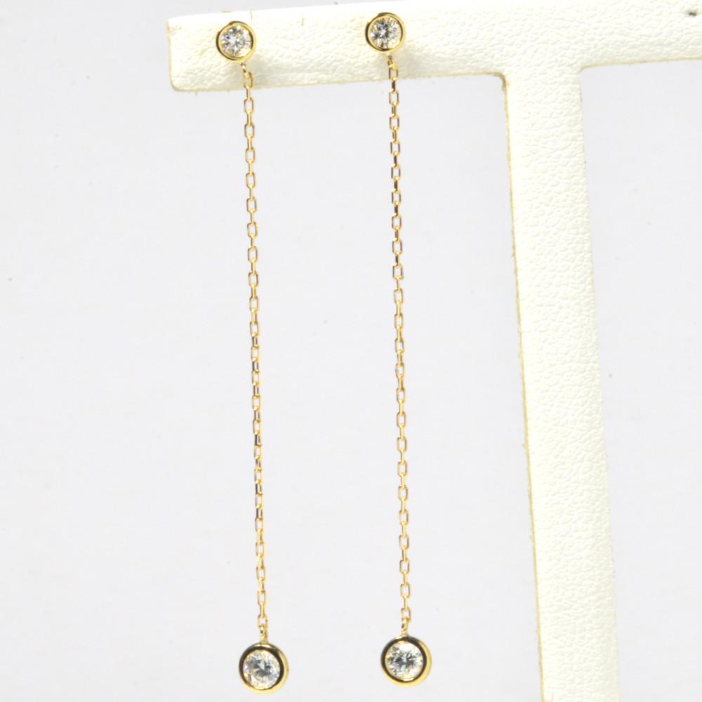 K18金 ダイヤモンド ロング ピアス YG PG WG イエローゴールド ピンクゴールド ホワイトゴールド