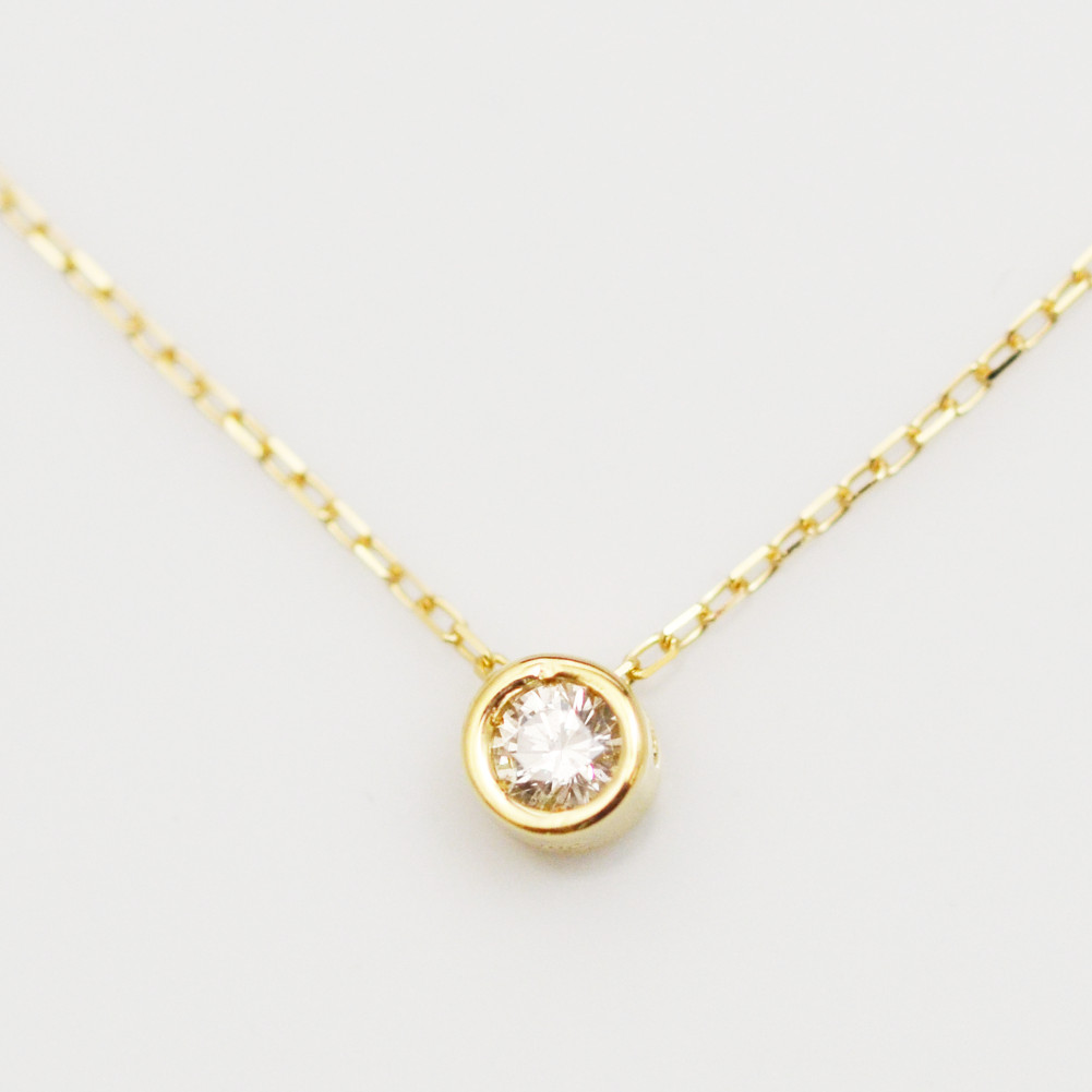 K18金 1粒 ダイヤモンド クローバー ネックレス イエローゴールド ピンクゴールド ホワイトゴールド YG PG WG レディース 四ツ葉