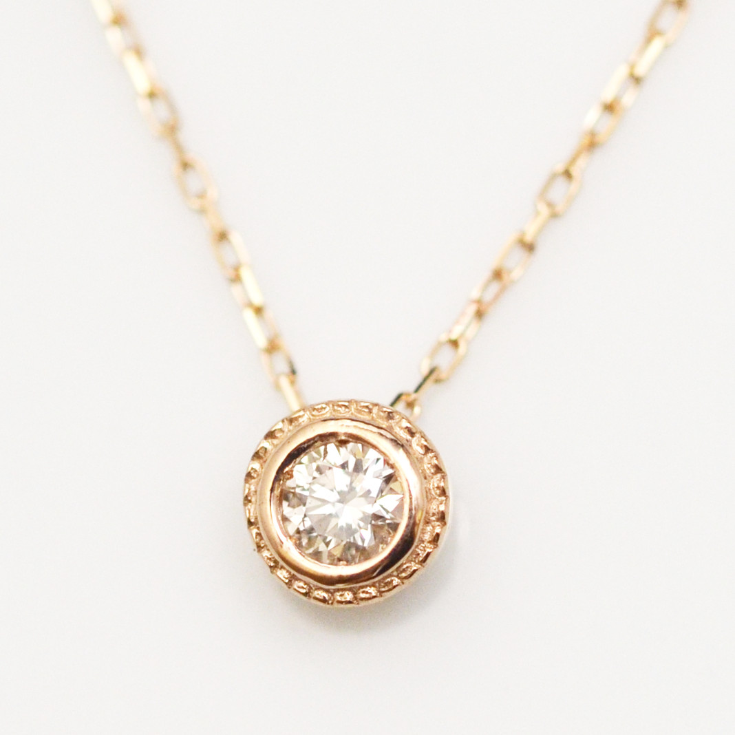 K18金 1粒 ダイヤモンド ハート ネックレス イエローゴールド ピンクゴールド ホワイトゴールド YG PG WG レディース