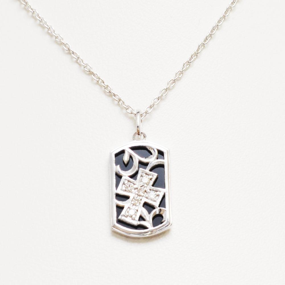 シルバー 925 オニキス ダイヤモンド ネックレス メンズレディ-ス ニセックス sv