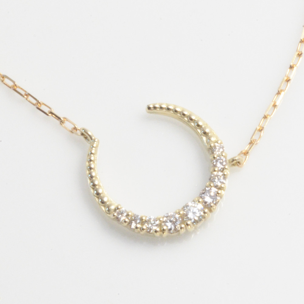 K10イエローゴールド K10ピンクゴールド K10ホワイトゴールド ダイヤモンド ムーン ネックレス 月モチーフ K10金