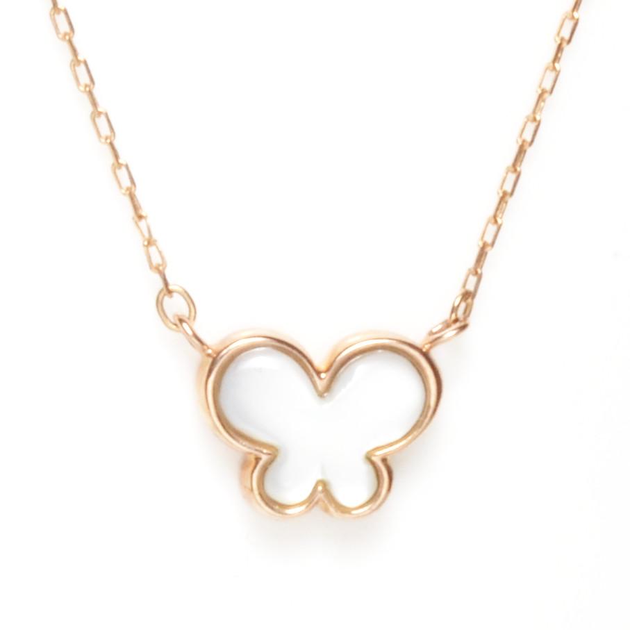 K10イエローゴールド K10ピンクゴールド K10ホワイトゴールド ダイヤモンド バタフライ 白蝶貝 ネックレス K10金 蝶々 ちょうちょ