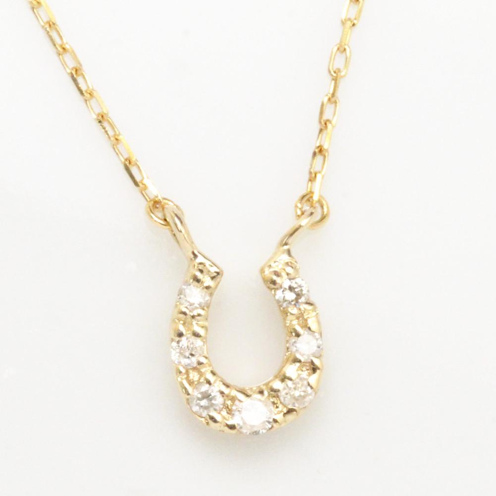 K18金 馬蹄 ホースシュー ダイヤモンド ルビー サファイヤ ネックレス イエローゴールド ピンクゴールド ホワイトゴールド