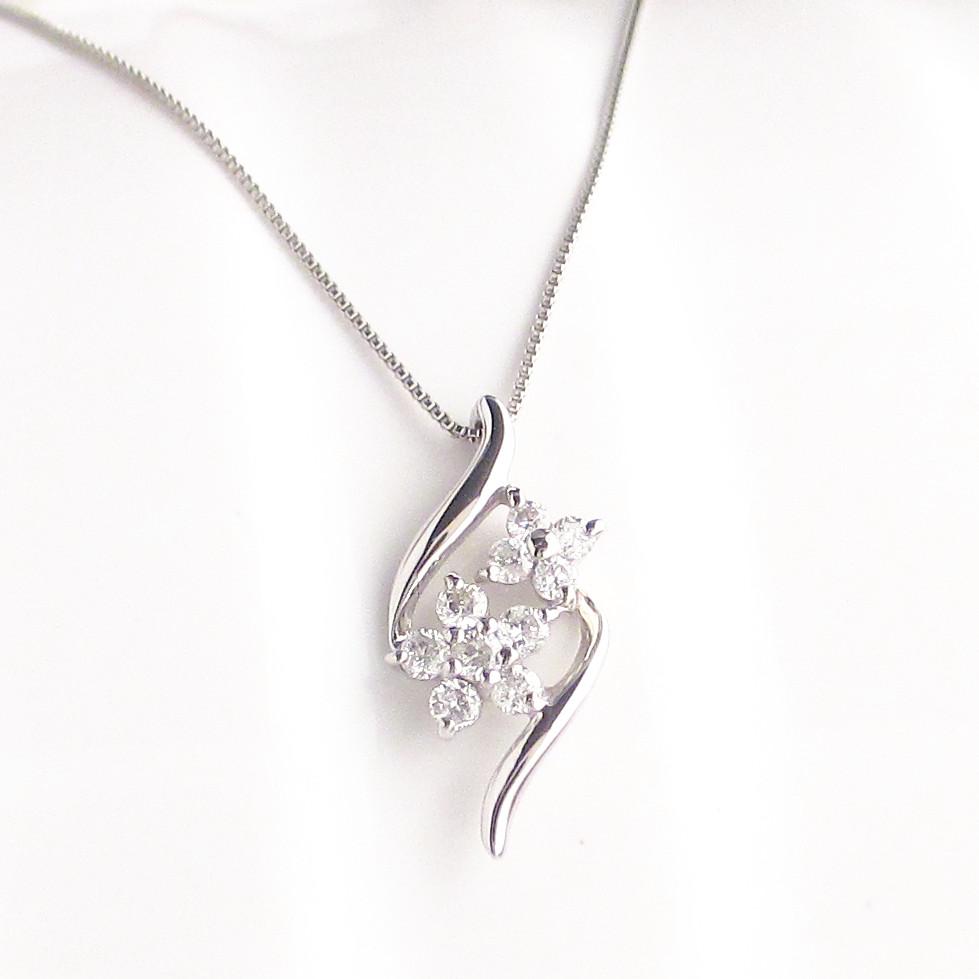 プラチナ Pt900 ダイヤモンド ネックレス 0.12ct