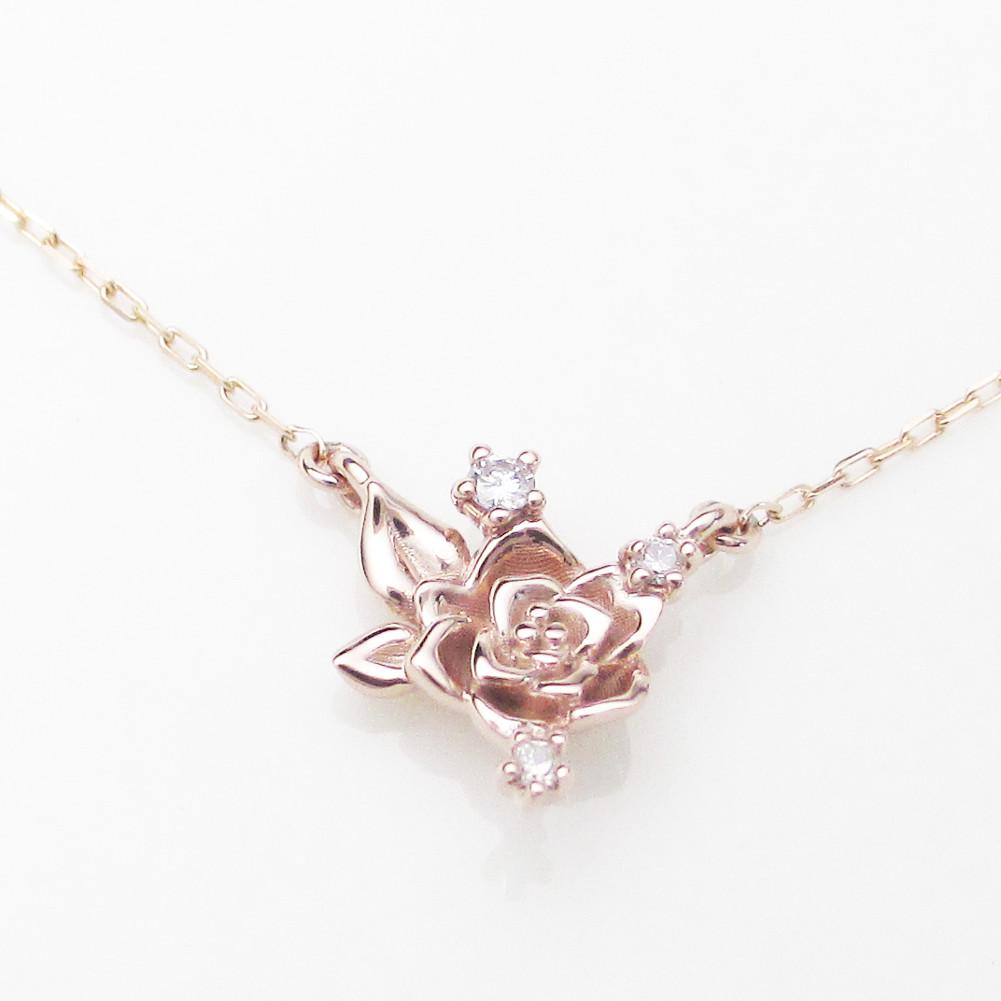 K10金 ダイヤモンド ローズ ネックレスイエローゴールド ピンクゴールド ホワイトゴールド バラ 薔薇 YG PG WG