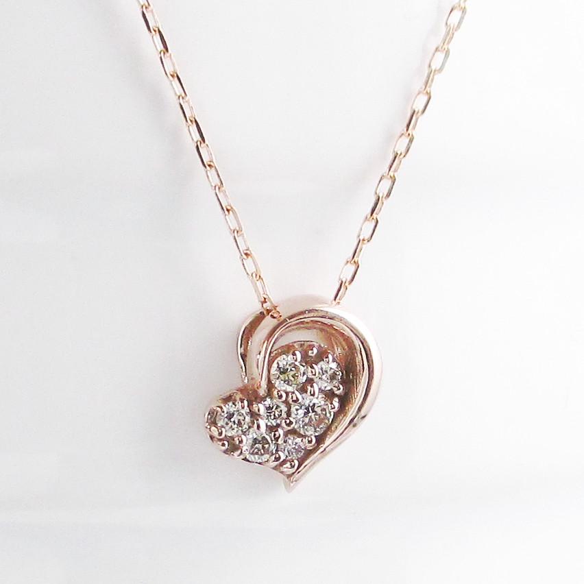 K10イエローゴールド K10ピンクゴールド K10ホワイトゴールド ダイヤモンド ハート ネックレス ペンダント モチーフ K10金 heart 華奢
