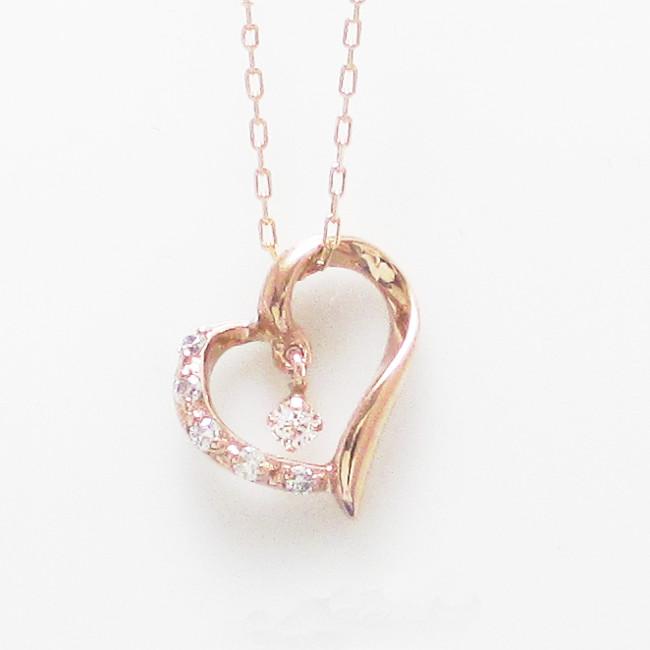 K18金 ダイヤモンド ハート ネックレス 0.05ct K18イエローゴールド K18ピンクゴールド K18ホワイトゴールド レディース 揺れるダイヤ