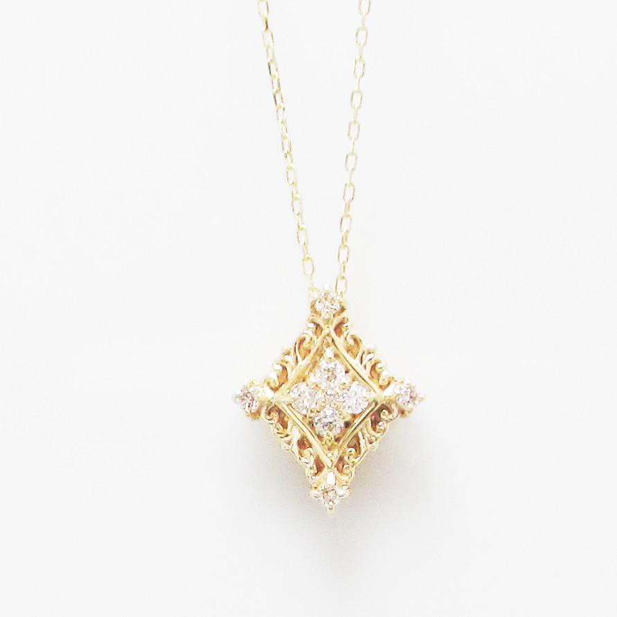 K18金 ダイヤモンド クラシカル ネックレス 0.10ct K18イエローゴールド K18ピンクゴールド K18ホワイトゴールド レディース