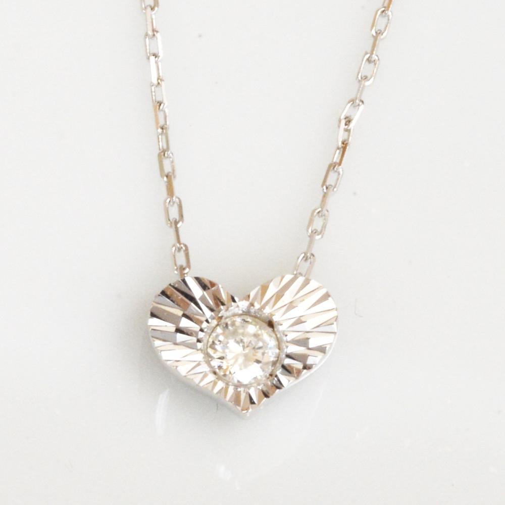 K10ホワイトゴールド ダイヤモンド ハート ネックレス SALE特価 レディース